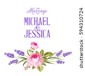 marriage invitation card with... | Shutterstock . vector #594310724