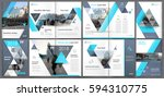 Abstract a4 brochure cover design. Info banner frame in techno style. Title sheet model set.  Hi tech flyer or ad text font with urban city street texture. Modern front page art with blue lines icon. | Shutterstock vector #594310775