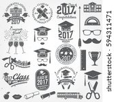 set of vector graduates class... | Shutterstock .eps vector #594311471