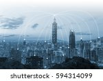 night cityscape and internet... | Shutterstock . vector #594314099