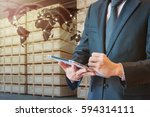 businessman touching tablet for ... | Shutterstock . vector #594314111