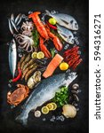 fresh fish and seafood... | Shutterstock . vector #594316271