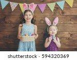 two cute little children are... | Shutterstock . vector #594320369
