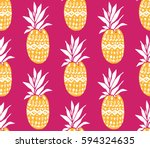 pineapple background with hand... | Shutterstock .eps vector #594324635