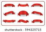 red ribbons set. satin blank... | Shutterstock .eps vector #594325715