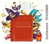 vector magic book | Shutterstock .eps vector #594328889
