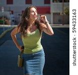 upset woman yells her...   Shutterstock . vector #59433163