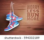 pair of sports shoes hanging on ... | Shutterstock .eps vector #594332189