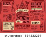 pizza food menu for restaurant... | Shutterstock .eps vector #594333299