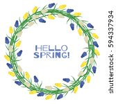spring wreath of muscari... | Shutterstock .eps vector #594337934