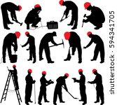 worker silhouettes collection   ... | Shutterstock .eps vector #594341705