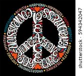 peace sign vector illustration  ... | Shutterstock .eps vector #594342047