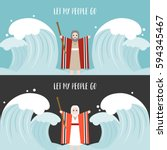 moses separate the sea in... | Shutterstock .eps vector #594345467