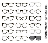 set of various custom glasses... | Shutterstock .eps vector #594351101