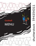 cocktail menu cover with... | Shutterstock .eps vector #594354311