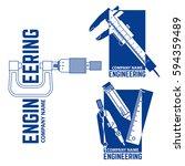 set of engineering company logo ... | Shutterstock .eps vector #594359489