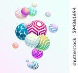 multicolored decorative balls.... | Shutterstock .eps vector #594361694