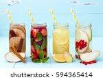 detox fruit infused flavored... | Shutterstock . vector #594365414