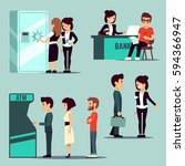 people in the bank  vector... | Shutterstock .eps vector #594366947