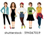 womans fashion styles vector... | Shutterstock .eps vector #594367019