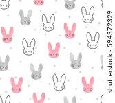 cute bunny pattern. seamless... | Shutterstock .eps vector #594372329