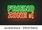 friend zone neon sign on brick... | Shutterstock . vector #594376601