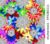 seamless floral pattern.... | Shutterstock . vector #594380111