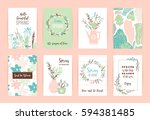 set of artistic creative spring ... | Shutterstock .eps vector #594381485