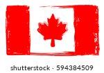 canada flag grunge style ... | Shutterstock .eps vector #594384509