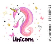 beautiful unicorn vector... | Shutterstock .eps vector #594385415