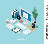 colored 3d office workspace... | Shutterstock .eps vector #594387377
