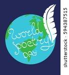world poetry day. vector... | Shutterstock .eps vector #594387515