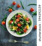 fresh tuna green bean salad... | Shutterstock . vector #594392159