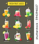 fruit smoothie  fresh juice set.... | Shutterstock .eps vector #594394037