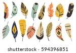 big set of vector feathers | Shutterstock .eps vector #594396851