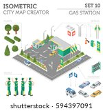 flat 3d isometric gas station... | Shutterstock .eps vector #594397091