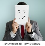 drawing facial expressions... | Shutterstock . vector #594398501