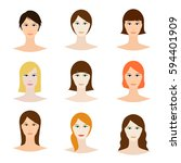 female avatar set  woman faces... | Shutterstock .eps vector #594401909