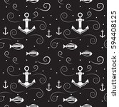 vector seamless pattern with... | Shutterstock .eps vector #594408125