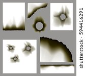 vector realistic burnt holes... | Shutterstock .eps vector #594416291