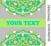vintage card with mandala... | Shutterstock .eps vector #594419681