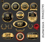 golden badges and labels with... | Shutterstock .eps vector #594422795
