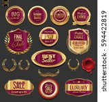 golden badges and labels with... | Shutterstock .eps vector #594422819