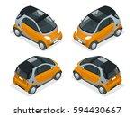 isometric hybrid car. city car... | Shutterstock .eps vector #594430667