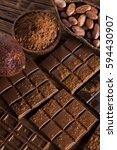 aromatic cocoa and chocolate on ... | Shutterstock . vector #594430907