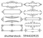 vector trendy linear frame with ... | Shutterstock .eps vector #594433925