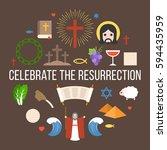 celebrate the resurrection of... | Shutterstock .eps vector #594435959