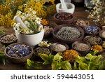 natural medicine  herbs  mortar ... | Shutterstock . vector #594443051