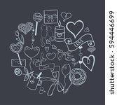 set of vector hand drawn summer ... | Shutterstock .eps vector #594446699