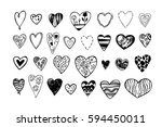 set of doodle red hearts | Shutterstock .eps vector #594450011